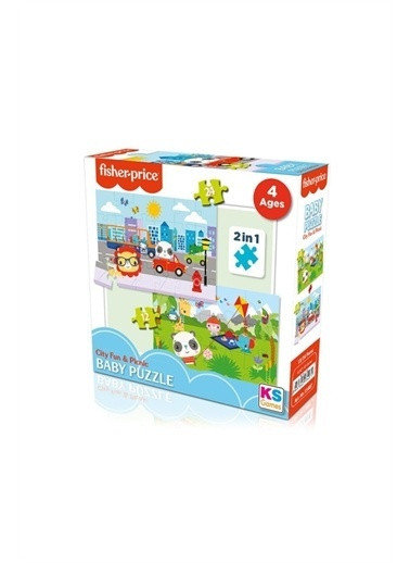 KS Puzzle Fisher Price Baby 12+24 Parça Şehir Eğlencesi ve Piknik Yapboz Renkli